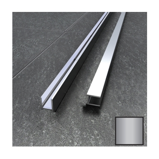 Abacus 2.2m Brushed Nickel Surface Channel For 10mm Glass - Dry Fix