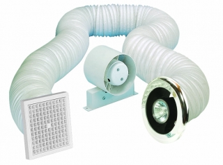 Airvent 100mm Shower In-Line Standard Fan with Timer & Light Kit