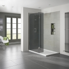 Image for Aquadart 10mm Hinged Wetroom Return Panel - Smoked - AQ8405S-SM