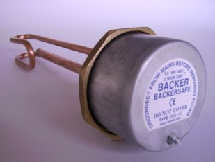 "Backer Low Watts Anti-Corrosive 11"" Immersion Heater with 7"" Thermostat"