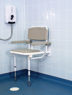 Barwood Hinged Shower Seat C/W Arms, Legs & Adjustable Feet