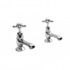 Image for Bayswater Dome Collar Crosshead Basin Tap White/Chrome - BAYT201