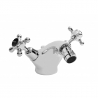 Image for Bayswater Dome Collar Crosshead Monobloc Bidet Mixer Black/Chrome - BAYT248