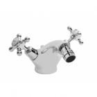Image for Bayswater Dome Collar Crosshead Monobloc Bidet Mixer White/Chrome - BAYT208