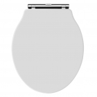 Image for Bayswater Fitzroy Traditional Round Wood Seat Soft Close Chrome Hinge White - BAYF167