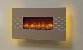 Be Modern Orlando LED Wall Hung Electric Fire - Cappuccino Weave