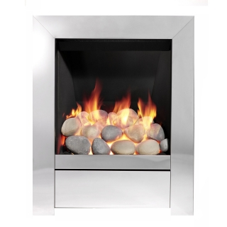 Be Modern Sensation Inset Gas Fire - Chrome/Pebble Slimline