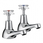 Image for Bristan 5412 Cross Top - Bath Tap - Deck Mounted Pillar (Pair) - Chrome - VAX 3/4 C