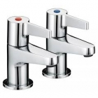 Image for Bristan Design Utility - Basin Tap - Deck Mounted Pillar (Pair, Lever) - Chrome - DUL 1/2 C