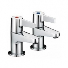 Image for Bristan Design Utility - Bath Tap - Deck Mounted Pillar (Pair, Lever) - Chrome - DUL 3/4 C