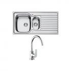 Image for Bristan Inox Easyfit 1.5 Bowl Stainless Steel Kitchen Sink With Raspberry Tap SK INXRD1.5 SU RSP