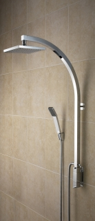 Bristan Qube Inline Vertical Shower Pole with Integral Diverter to Handset QU VSHXSPDIV C