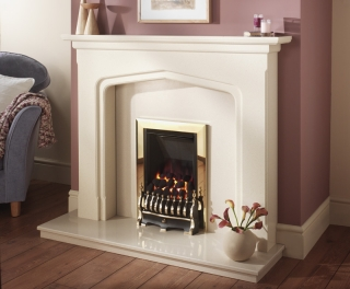 Crystal Fires Diamond Coal Brass Inset Gas Fire with Blenheim Fret