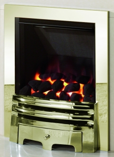 Crystal Fires Diamond Coal Brass Inset Gas Fire with Grace Fret