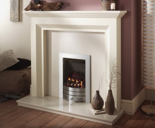 Crystal Fires Diamond Contemporary Coal Brushed Steel Inset Gas Fire