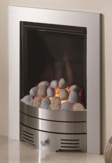 Crystal Fires Diamond Contemporary Pebble Brushed Steel Inset Gas Fire