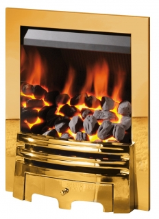 Crystal Fires Gem Coal Brass Touch Control Inset Gas Fire