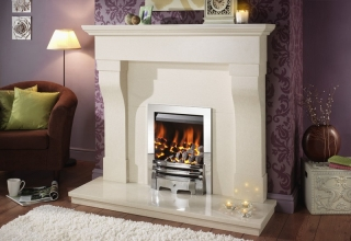 Crystal Fires Gem Royale 3 Sided Coal Brushed Steel Inset Gas Fire