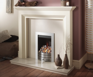 Crystal Fires Super Radiant Contemporary Pebble Brushed Steel Fire
