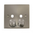 Image for Deco 1 Gang 2 Aperture Dimmer Plate and Knobs - Satin Chrome - VPSC152PL