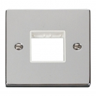 Image for Deco 1 Gang 2 Aperture Minigrid Plate - White - Polished Chrome - VPCH402WH