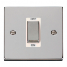 Image for Deco 1 Gang Double Pole Switch - White - Polished Chrome - VPCH500WH