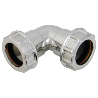 FloPlast Chrome Compression Waste 90° Bends