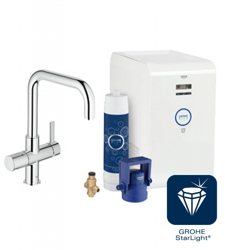 grohe blue chilled u spout starter kit kitchen tap. Black Bedroom Furniture Sets. Home Design Ideas