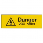 Image for Industrial Signs IS1105EN Rigid Engraved Danger 230 Volts Sign - IS1105EN