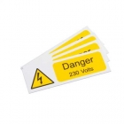 Image for Industrial Signs IS1805RP Rigid Self Adhesive PVC Danger 230 Volts Sign - IS1805RP