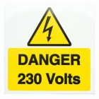 Image for Industrial Signs IS1910SA Self Adhesive Vinyl Danger 230 Volts Sign - IS1910SA