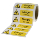 Image for Industrial Signs IS2010OR Self Adhesive Vinyl On A Roll Danger 230 Volts Sign - IS2010OR