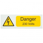Image for Industrial Signs IS2110SA Self Adhesive Vinyl Danger 230 Volts Sign - IS2110SA