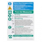 Image for Industrial Signs IS2401RP Rigid Self Adhesive PVC Electric Shock/First Aid Notice - IS2401RP