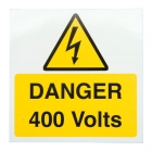 Image for Industrial Signs IS2710SA Self Adhesive Vinyl Danger 400 Volts Sign - IS2710SA