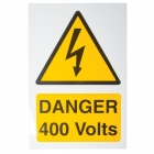 Image for Industrial Signs IS5101RP Rigid Self Adhesive PVC Danger 400 Volts Sign - IS5101RP