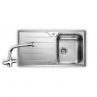 Image for Leisure Albion 950x508 1.0B Satin Stainless Steel Kitchen Sink Inc. Waste and AD2 Tap - AL9501/TCAD2CM