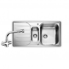 Image for Leisure Albion 950x508 1.5B Satin Stainless Steel Kitchen Sink Inc. Waste and AD2 Tap - AL9502/TCAD2CM