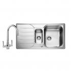 Image for Leisure Albion 950x508 1.5B Satin Stainless Steel Kitchen Sink Inc. Waste and FL1 Tap - AL9502/TCFL1