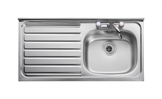 Leisure Contract LC105L 1.0 Bowl 2TH Stainless Steel Kitchen Sink - Left Hand Drainer SQ Front