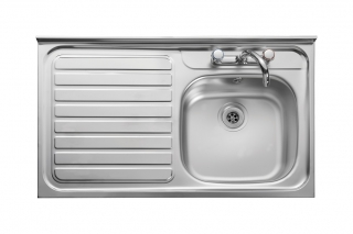 Leisure Contract LC106L 1.0 Bowl 2TH Stainless Steel Kitchen Sink - Left Hand Drainer SQ Front