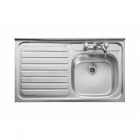 Image for Leisure Contract LC106L 1.0 Bowl 2TH Stainless Steel Kitchen Sink - Left Hand Drainer SQ Front