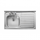 Image for Leisure Contract LC106R 1.0 Bowl 2TH Stainless Steel Kitchen Sink -Right Hand Drainer SQ Front
