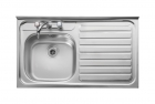 Leisure Contract LC106R 1.0 Bowl 2TH Stainless Steel Kitchen Sink -Right Hand Drainer SQ Front