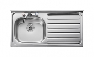 Leisure Contract LN105R 1.0 Bowl 2TH Stainless Steel Kitchen Sink - Right Hand Drainer SQ Front