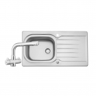 Image for Leisure Eaton 950x508 1.0B Satin Stainless Steel Kitchen Sink Inc. Waste and DR1 Tap - EA9501/TDR1