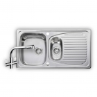 Image for Leisure Euroline 950x508 1.5B Polished Stainless Steel Kitchen Sink Inc. Strainer Waste and AD4 Tap - EL950289/TCAD4-AN