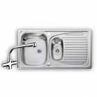 Image for Leisure Euroline 950x508 1.5B Polished Stainless Steel Kitchen Sink Inc. Waste and AD2 Tap - EL9502/TCAD2
