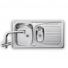 Image for Leisure Euroline 950x508 1.5B Polished Stainless Steel Kitchen Sink Inc. Waste and AD4 Tap - EL9502/TCAD4-AN