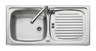 Leisure Euroline EL860NC 1.0 Bowl 1TH Stainless Steel Inset Kitchen Sink - Reversible - Bright Finish